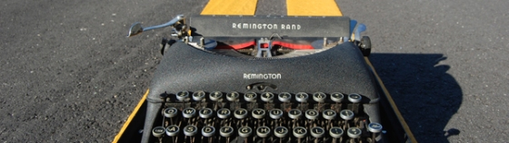Texting and running; typewriter on the road