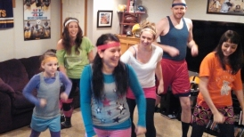 New Years Eve rehearsal for the annual music video with the cousins, '80s jazzercise style.