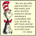 """""""We are all a little weird and life's a little weird, and when we find someone whose weirdness is compatible with ours, we join up with them and fall in mutual weirdness and call it love."""" Dr. Seuss {Piloting Paper Airplanes}"""