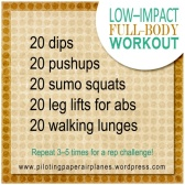Low–Impact Full–body workout {Piloting Paper Airplanes}
